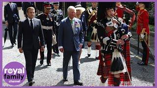 Prince Charles and French President Emmanuel Macron lay wreaths at Carlton Gardens