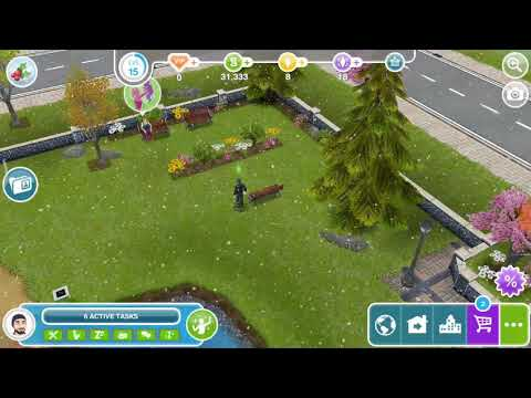 Wait excitedly on a bench - the Sims freeplay 😸