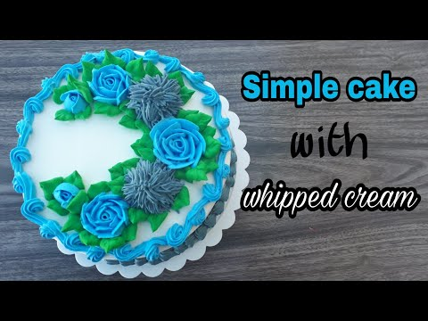 How to make flower cake with whipped cream/ whipped topping - Whipped Cream Flower Cake Tutorial