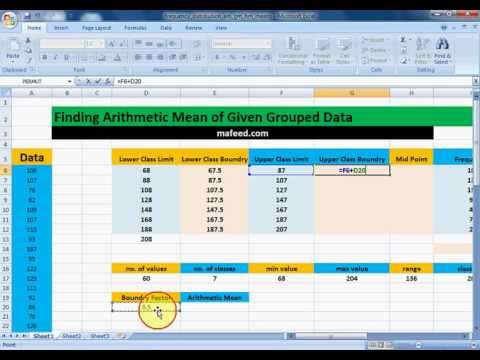 Finding Arithmetic Mean of given Grouped Data in MS Excel
