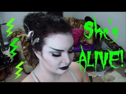 Black & White Bride of Frankenstein Hair & Makeup : GRWM Costume Party