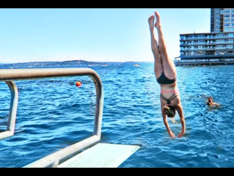 Diving board tricks on the lake