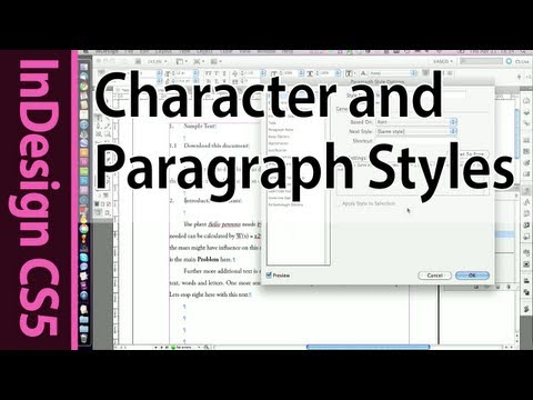 InDesign CS5 Tutorial: Working with text - Paragraph and Character styles (Part 3a)