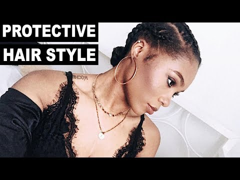 Quick and Easy Protective Hairstyle for Short Hair | Braided Ponytail |  Trishonnastrends