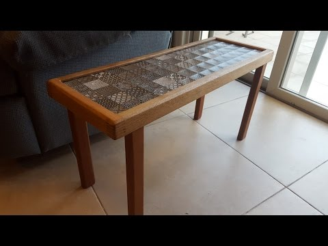 Side table with ceramic tile top