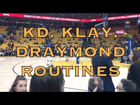 Durant, Klay and Draymond pregame routines at Oracle Arena before 2018 WCF G3