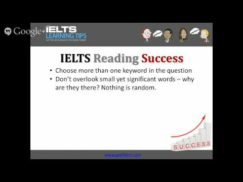 Choosing the right keywords in IELTS reading