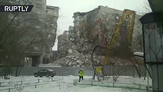 Demolition of apartment block following deadly blast in Russia