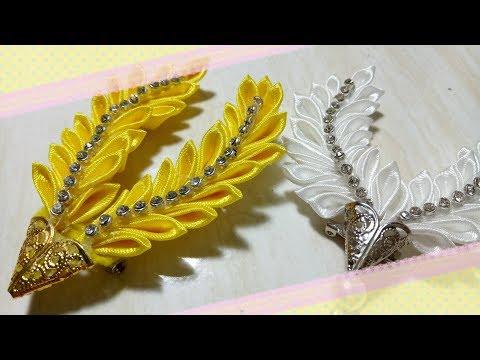 67) Tutorial victory leaf Brooch || Tutorial bros daun bentuk victory || Kanzashi Flower (VOD-05)
