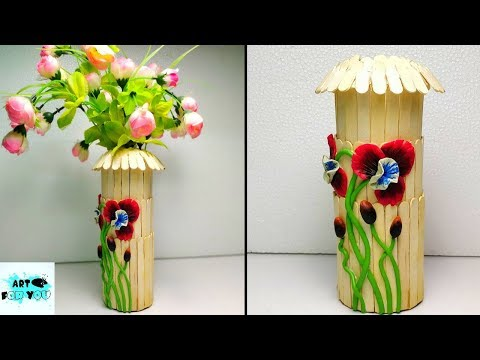 How to make Flowerpot from popsicle sticks | How to make Flowerpot from ice cream sticks