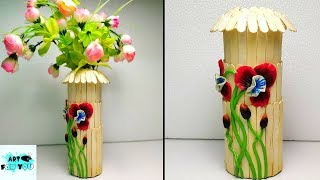 Flower basket making with popsicle stick    Diy Home Decor ... on ice cream sticks lamps, ice cream sticks crafts, ice cream sticks chair,