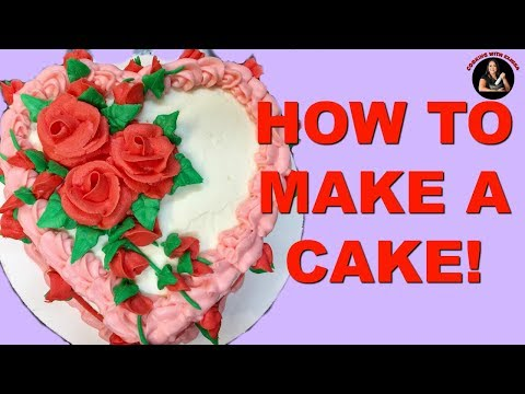 How to Make a Cake របៀបធ្វេីនំខេក​​-Coconut Cake , Coconut Custard Filling, and Coconut Icing