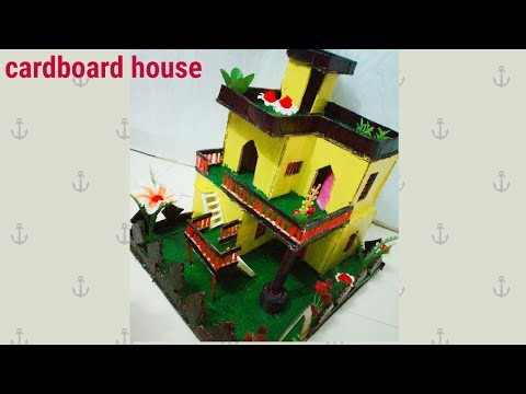 how to make cardboard house |Beautiful Cardboard House Project DIY at Home|dustu pakhe|