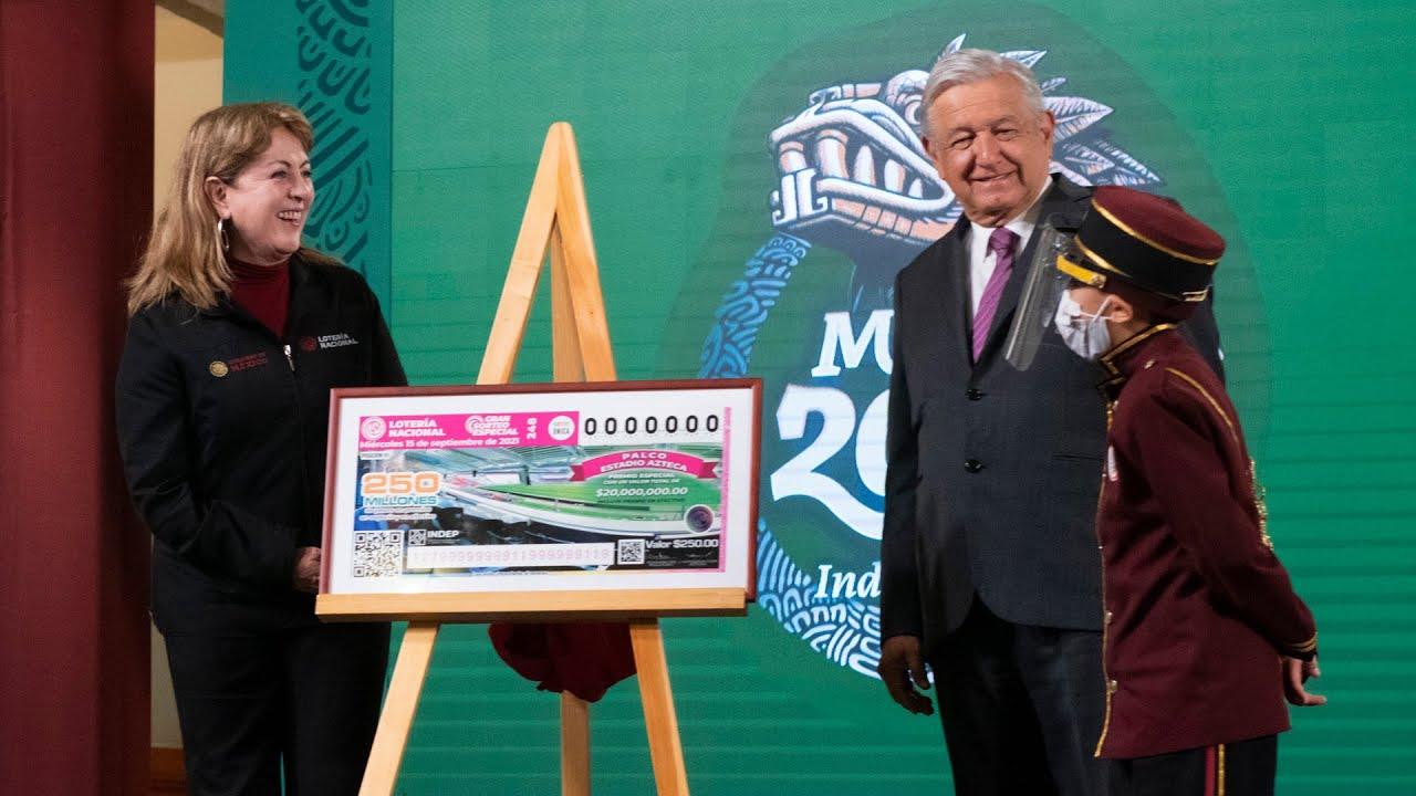 Lotería Nacional sortea por primera vez 22 premios en especie. Conferencia presidente AMLO