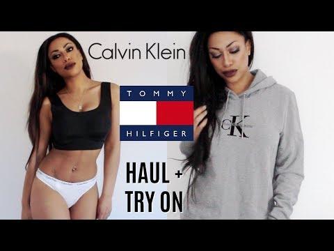 TRY ON HAUL! | CALVIN KLEIN + TOMMY HILFIGER | LOUNGE-WEAR, TOPS + THONGS