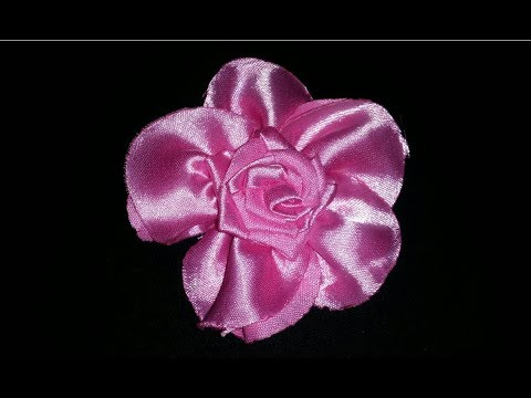 How to make Ribbon Pink Flower Easy step by step Tutorial Video