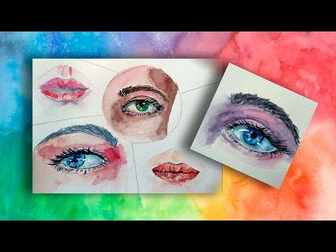 Watercolor Eyes and Lips - Sketch Tutorials For Beginners. Part 2