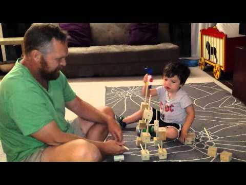 Playing with homemade tinker toys
