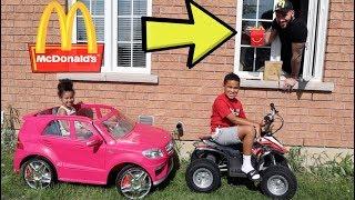 Download McDonald's Drive Thru Prank on Power Wheels, Kids Pretend Play   FamousTubeKIDS Video