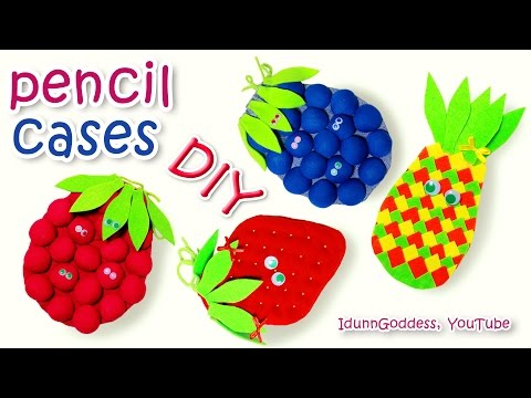 DIY Fruit Pencil Cases Out Of T-shirts – How To Make A Pencil Case (school supplies) tutorial