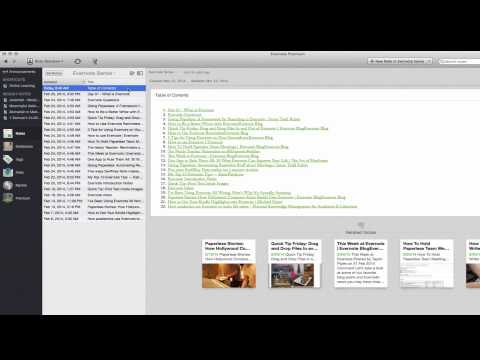 Evernote - Table of Contents and Other Features