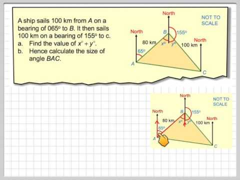 Use of bearings and finding an angle using trigonometry