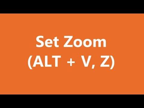 Excel Shortcuts - Set Zoom