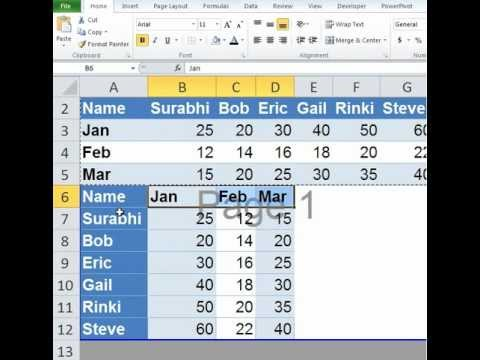 Excel Convert Rows to columns and Columns to Rows