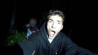 we got chased out of the woods by clowns...
