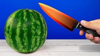 EXPERIMENT: Glowing 1000 degree KNIFE VS WATERMELON