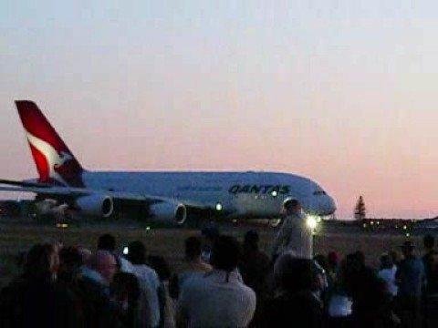 Qantas Airbus A380 landing in Adelaide SA (YPAD)