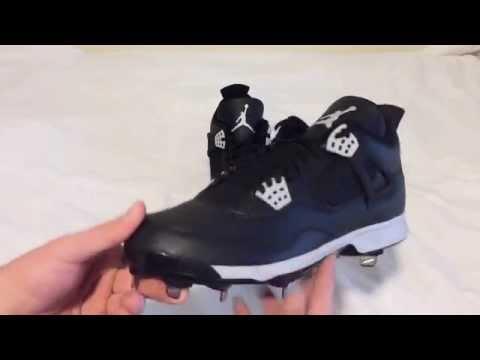 Nike Air Jordan Retro 4 IV Baseball Cleats Metal Black Oreo Unboxing Video