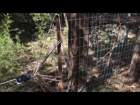 Wire fencing, stretching and tensioning
