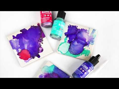How to make tile coasters with alcohol inks, The Aloha Studios