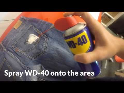 WD-40 Removing chewing gum from jeans