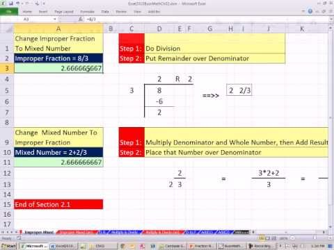 Excel 2010 Business Math 19: Mixed Number to Improper Fraction, Improper Fraction to Mixed Number