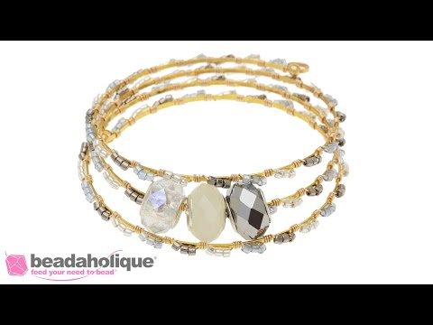 How to Create a Wire Wrapped Flat Memory Wire Bracelet with European Style Large Hole Beads