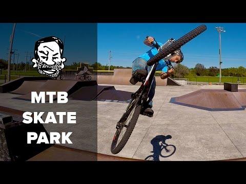 Mountain Biking at a Skatepark