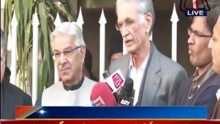 CM KPK Pervez Khattak And Defence Minister Khawaja Asif