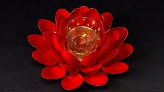 Diy Lotus Flowerwaste Material Reuse Ideaplastic Spoon Craft Idea