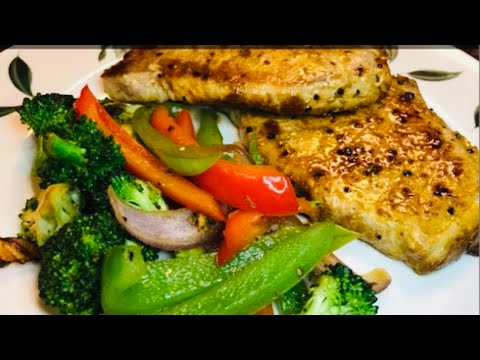 Quick & Easy: Hubby's dinner Low Carb  PAN GRILLED PORK CHOP & VEGETABLES recipe