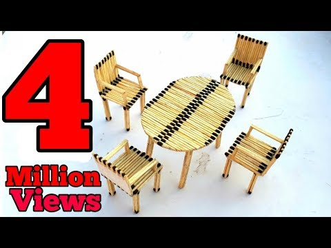 match stick art : how to make chair and table by useing match stick,match stick dining table
