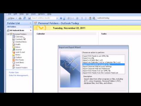 How to import Outlook data (PST file) to Outlook 2003 - 2007 HD