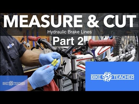 How to measure and cut the rear hydraulic brake line or hose.
