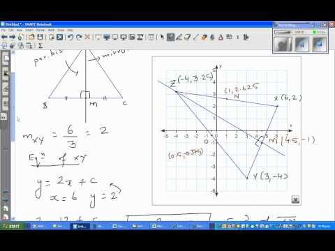 Finding the equation of the line of symmetry of a triangle  NCEA Level 2 Excellence question