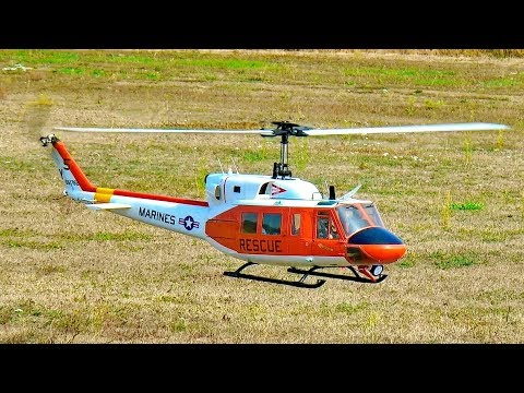 AMAZING RC BELL-212 RESCUE HUEY SCALE MODEL ELECTRIC HELICOPTER FLIGHT DEMONSTRATION