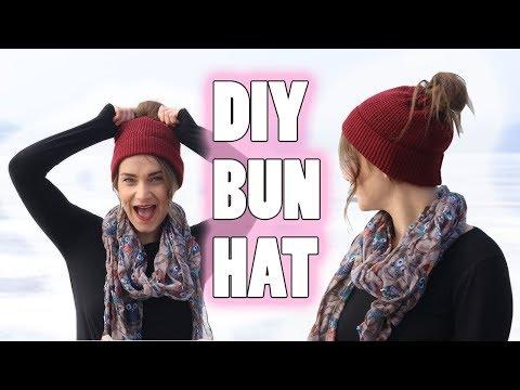 DIY MESSY BUN HAT   NO CROCHET (EASY)