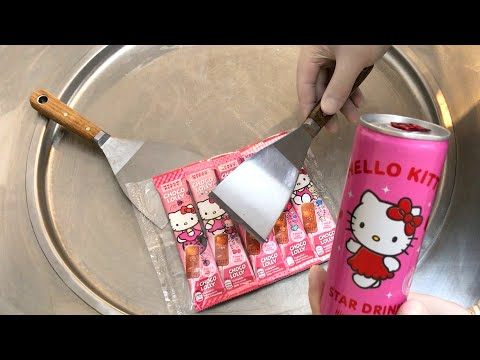 Hello Kitty Ice Cream Rolls | how to make pink lemonade and chocolate lollipops to ice cream ハローキティ