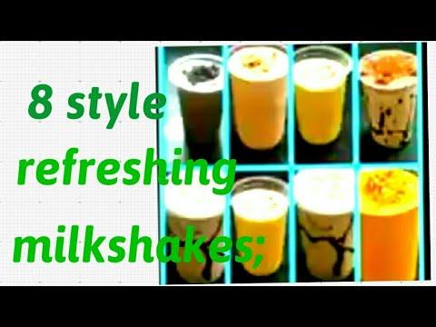 8 of milkshake| Oreo| Chikku| Custard apple | Kitkat | Dryfruit |Apple |Coffee chocolate | Mango.