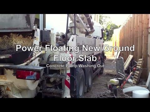 Power floating concrete floor slab